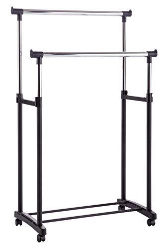 Miroytengo Perchero Ruedas móvil Color Negro Doble Barra Ajustable en Altura 90 – 153 cm