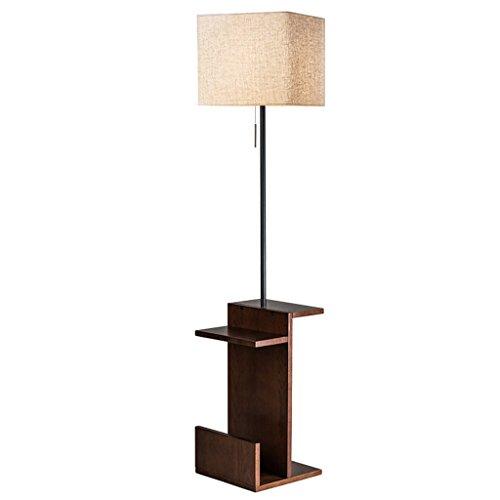 Lamparas de pie Lámpara de pie de madera maciza moderna creativa con diseño de mesa Lámpara de pie de sala de estar, lámpara de pie y mesa 2 en 1 interruptor de cable de época, H 159CM * W35CM Lámpa