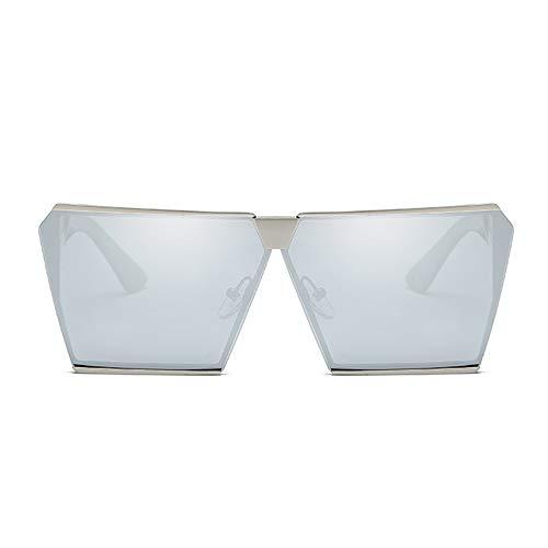XFSE Gafas de sol polarizadas, cuadradas, color plateado, marco grande, unisex, protección UV400 (color: plata)