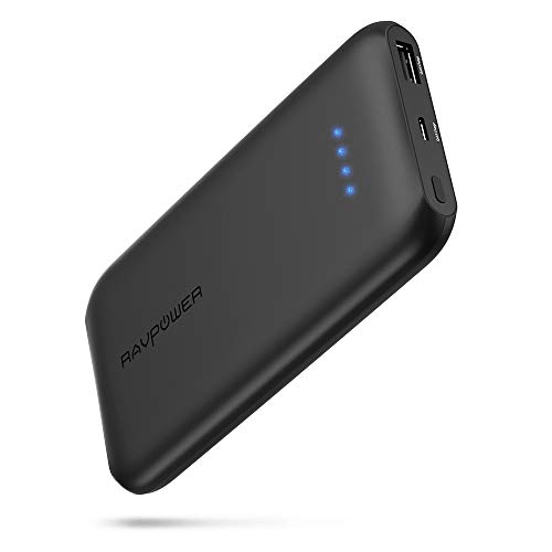 Quick Charge 3.0 RAVPower 10000mAh Portable Charger with QC 3.0 Input & Output, Ultra-Slim 10000 Power Bank with High-Density Li-Polymer Battery Pack for iPhone 11, iPad, Galaxy and More