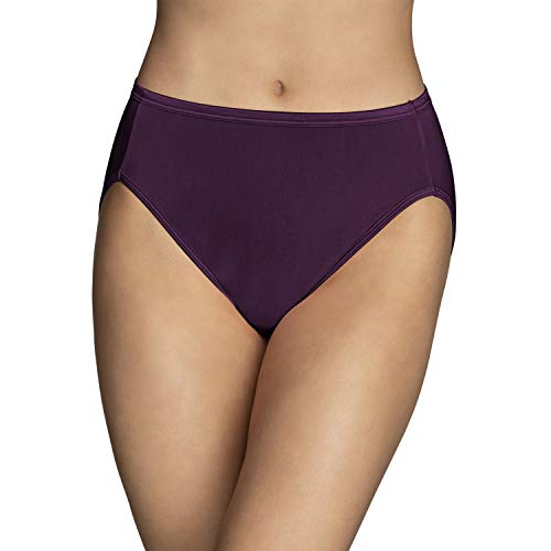 Vanity Fair Women's Illumination Hi Cut Panties (Regular & Plus Size), Sangria, 9