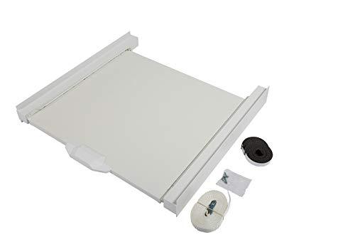 KOENIC - Zwischenbaurahmen - für Trockner und Waschmaschine mit 150 kg Tragkraft und ausziehbarer Ablage inklusive Spanngurt, weiß