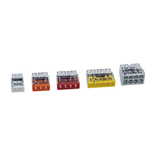 100er Set Wago Verbindungsklemmen 20x 2 Leiter 40x 3 Leiter 15x 4 Leiter 15x 5 Leiter 10x 8 Leiter der Serie 2273 von 0,5 bis 2,5 mm² kleine Bauform, transparent