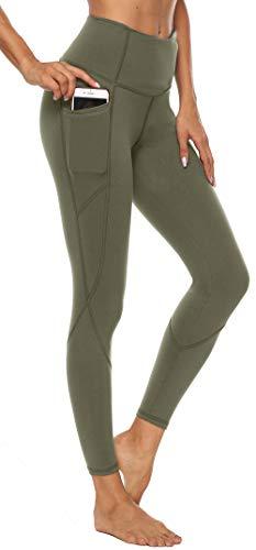 Persit Damen Yoga Leggings, Sport Tights Leggins Yogahose Sporthose für Damen Olivengrün - M