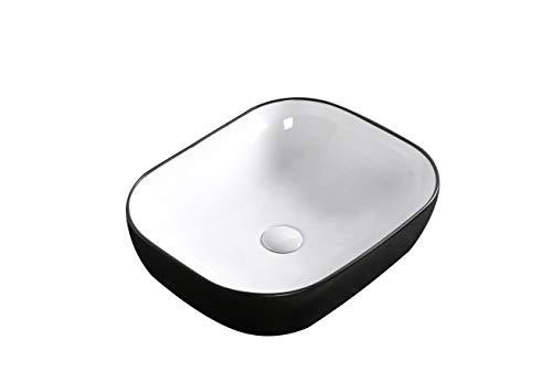 Waschbecken Aufsatzwaschbecken Waschtisch Rechteckig Oval Rund klein Schwarz Grau Beige Weiß hochwertige Keramik Lotus Effekt, Größe 50 x 40 x 14 cm Farbe: Rechteckig Schwarz/Weiß 1