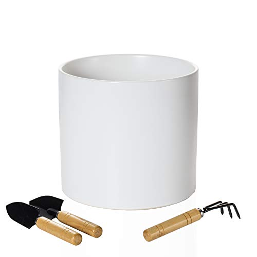 White Flower Ceramic Plant Pot: 8 Inch Ceramic Pot for Plants - Large Garden Pot with 3 pcs Mini Plant Tools - Modern Cylinder Planter for Indoor & Outdoor