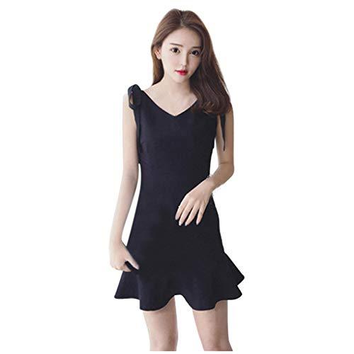 Gugavivid Damen V-Ausschnitt Ärmelloses Fischschwanzkleid Sommer Elegant Casual Slim Fit Einfarbige Kniekleider(Black,XL)