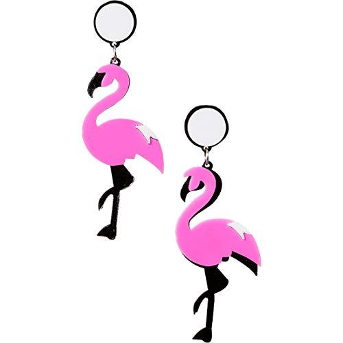 Amakando Orecchini Trendy per Donne & Ragazze / Rosa-Nero / Orecchini di Colore Rosa Acceso a Forma di Fenicottero / Creati per Feste a Tema & Carnevale