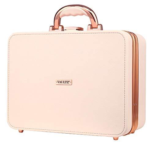 Vaultz LED Makeup Case with Soft Corners, Carry Handle, Rose Gold
