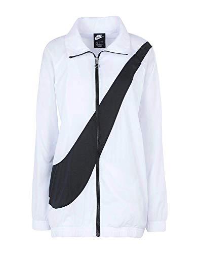 Nike Giacca A Vento Donna Bianca con Logo Nero Full Zip BV3685-100 (XS)