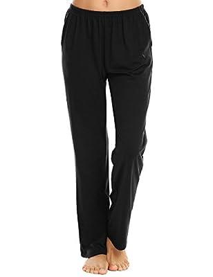 Ekouaer Pajama Bottoms Women's Soft Sleepwear Pants Casual Long Lounge Pants (Black,S) by