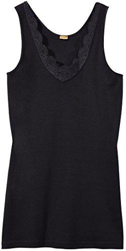 Jolinesse® Damen Unterhemd Feinripp, 100% Baumwolle ++ Plus Size ++ (Schwarz, Gr. XL - 48/50)