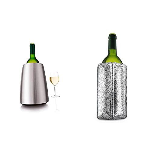 Vacuvin Chiller Bottle Rapid Wine Cooler Color: Acero Inoxidable. Se suministra con Inserto enfriadora de Botella. + 8714793388031 Enfriador Activo de Vino, Plástico, Plata