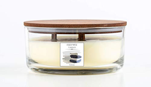 Forest Wick - Large Round Scented Soy Candle with Three Crackling Wicks | Up to 40 Hours Burn Time - In glass Jar with Lid. Beautiful gift candle set or candle for your home. (Fresh Linen)