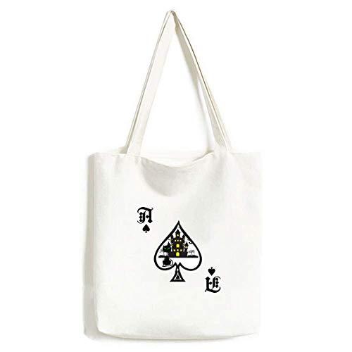 Bolsa de mão para Halloween Castelo Sombrio Horrível Gato Bolsa de Lona Poker Spade Bolsa de compras