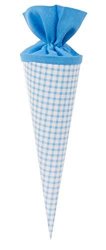 goldbuch 93 013 - Geschenktüte 35 cm lekker + anders Karo blau, Jungen & Mädchen Schultüte, Lackkarton Geschwistertüte mit Filzverschluss, Zuckertüte zur Einschulung und Schulanfang, ca. 35 x 11,5 cm