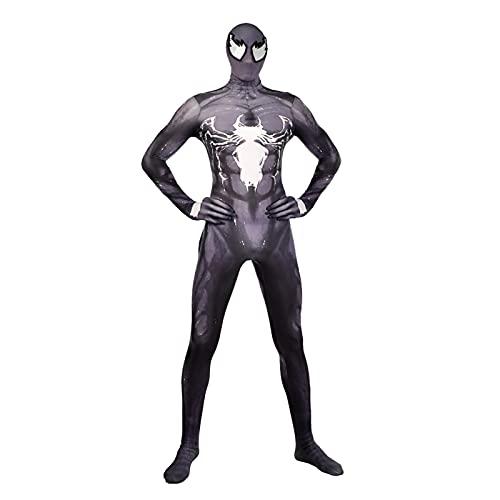 TIanshXY Venom Spiderman Disfraz Unisex Cosplay Body Halloween Mono Cómodo Clásico Lycra Spandex Zentai Superhéroe Disfraz Onesies
