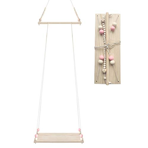 Rehomy Étagère murale flottante avec corde en bois étagère de rangement balançoire étagère de décoration de chambre d'enfant