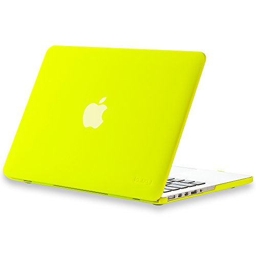 Kuzy - Retina 13-Inch HOT Neon YELLOW Rubberized Hard Case Cover for Apple MacBook Pro 13.3' with Retina Display Models: A1502 and A1425 (NEWEST VERSION) - Construction Hot Yellow