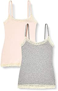 Marca Amazon - IRIS & LILLY Camiseta de Tirantes con Encaje Body Natural para Mujer, Pack de 2, Multicolor (Soft Pink/Grey), XS, Label: XS