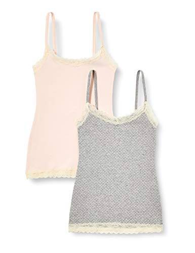 Marca Amazon - IRIS & LILLY Camiseta de Tirantes con Encaje Body Natural para Mujer, Pack de 2, Multicolor (Soft Pink/Grey), X-Small