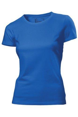 Hanes - T Shirt Femme Uni sans Etiquette Bio sans Logo Manche Courte Bleu Bleu Marine 18