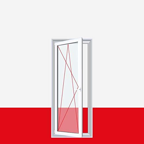 1-flüglige Balkontür Terrassentür Kunststoff Dreh-Kipp PVC Weiß alle Größen, Anschlag:DIN Links, Glas:3-Fach, BxH:1200x1900 (120x190 cm)
