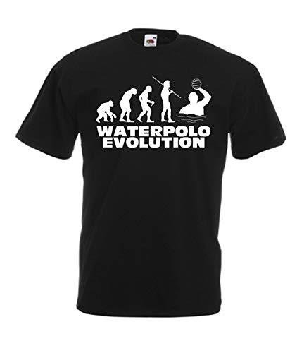 CHEIDEASTORE T-Shirt Waterpolo Evolution Maglietta Pallanuoto Uomo (Nero, Medium)