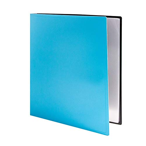 "CRANBURY Folder with Plastic Sleeves - (Blue) Presentation Binder with 24 Sleeve Capacity, Presentation Book Shows 48 Letter Size 8.5x11"" Pages, Portfolio Book with Thick Cover, Inner Front Pocket"