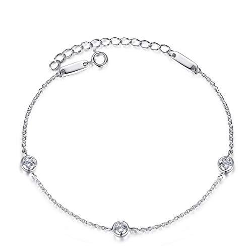Bo&Pao Zirkonia Armband 925 Sterling Silber, Damen Armkettchen Silber mit Zirkonia, 20 cm, verstellbar