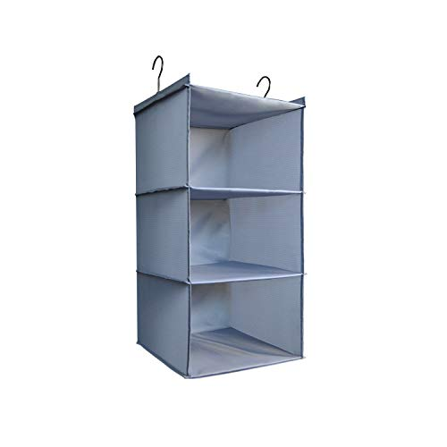 DonYeco Hanging Closet Organizer Easy Mount Foldable 3Shelf Hanging Closet Wardrobe Storage Shelves Clothes Handbag Shoes Accessories Storage Washable Oxford Cloth Fabric Gray