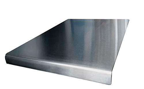 Protector de encimera de acero inoxidable para cortar bordes cuadrados, plano o redondo, ver todos los tamaños de variación (600 x 580 plegado redondo)