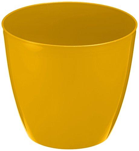 Plastkon Décoration Pot Decorative Flower Pot Ella Brillant Diamètre 21 cm, Jaune