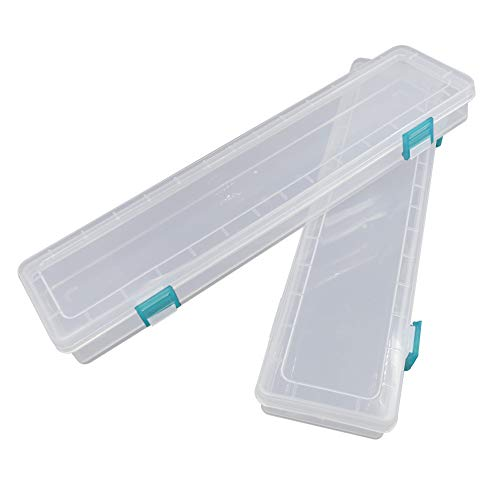 Paint Brush Holder for Long Paintbrushes, Paint Brushes Storage Box Watercolor Pen Container Drawing Tools, Clear - 2Pcs