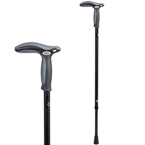 Carex Health Brands Hiking Cane Walking Stick with Dual Grip Handle for Men & Women, Black