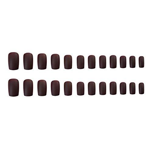 TJJL Faux ongles 24 pcs/boîte mi-longueur tête carrée brun foncé couleur mat faux ongles femmes portable couverture complète doigt faux ongles avec de la colle
