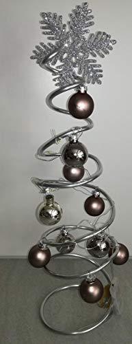 Weihnachtsbaum Weihnachtsgesteck Weihnachtsdekoration Weihnachten Adventskranz aus Draht braun silber mit Beleuchtung