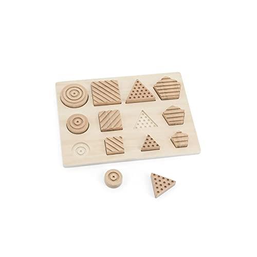 Andreu Toys- Geo Sensory Shapes Puzzles de Madera, Multicolor (16106)