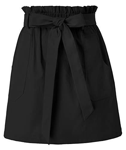 KANCY KOLE Women's Tie Waist Skirts Black Casual High Waist Belted Short Skirt with Pockets