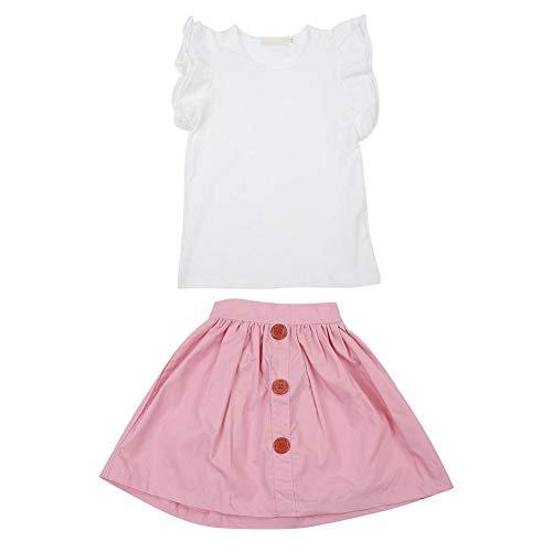 2 stuks peuters baby meisjes zomer outfits kleding flappable vliegende huls T-shirt tops A-lijn knopen korte rok kleine prinses party jurk set voor casual dagelijkse fotoschoten roze 90