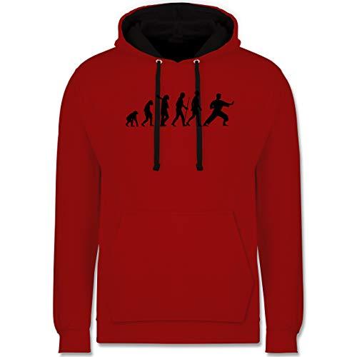 Shirtracer Evolution - Kampfsport Evolution - S - Rot/Schwarz - Karate Pulli - JH003 - Hoodie zweifarbig und Kapuzenpullover für Herren und Damen