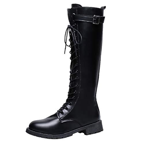 MINIKIMI Reitstiefel Damen Leder Hoch Stiefel Vintage HüBsch Steampunk Gothic MilitäR Stiefel Kampfstiefel Winter Klassische Biker Boots