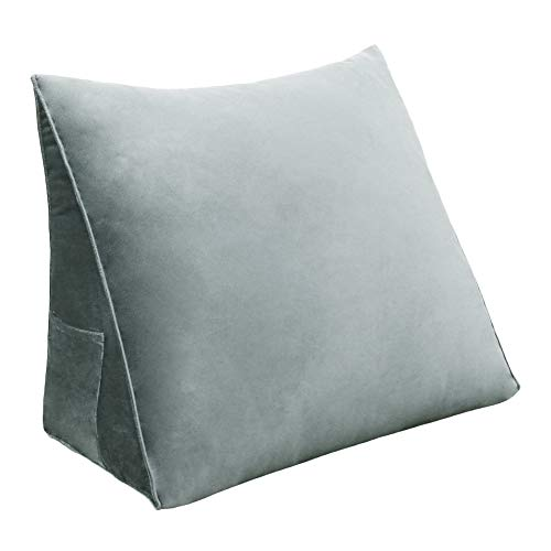 VERCART ベッドウェッジ読書枕装飾的な多目的ソファシットアップバックサポート多目的なボディポジショニングエレベーション三角クッションと ベルベットの洗えるカバー付き睡眠用酸逆流脚の痛みを和らげる グレー 45cm