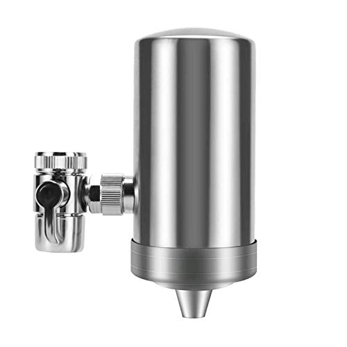 Insputer Tap Water Purifier,Faucet Water Filter 304 Stainless Steel for Sink Kitchen-High Flow with Reduces Chlorine Heavy Metals and Bad Taste-1 Filter Included