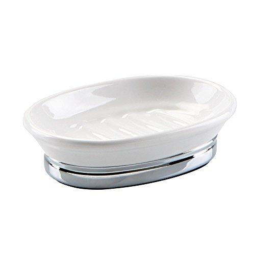 iDesign Seifenhalter, ovale Seifenablage aus Keramik und Metall, kleine Seifenschale für Waschtisch und Spülbecken, weiß und silberfarben