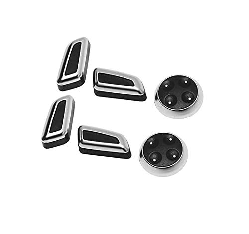 ZhiDuoXing 6 PCS Botón de Ajuste de Ajuste de Asiento Cromado Negro Botón Interruptor de Cubierta Trims/Ajuste para -AUCION A3 A4 A5 A6 Q3 Q5 / VW/Jetta MK5 MK7 / Passat/Tiguan /