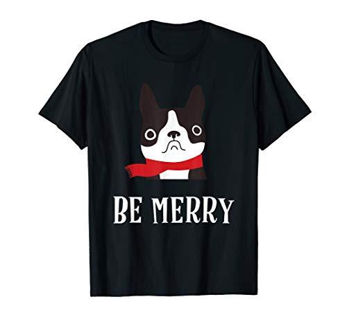 Merry Christmas French Bulldog T-Shirt Cute Red Scarf Winter T-Shirt