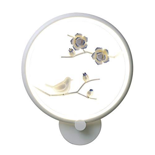 MJSM Light Wandlamp, wandlamp, slaapkamer, creatieve wandlampen, kunst, straatnachthandwerk, intelligente afstandsbediening, vogel, pruim, rond