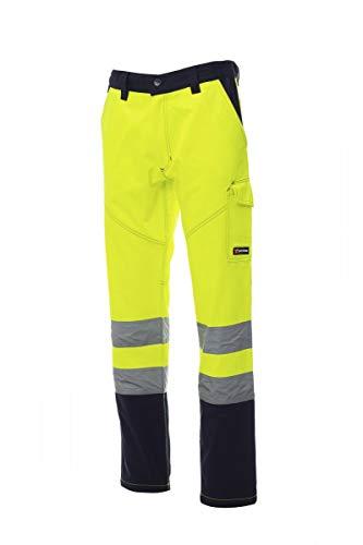 PAYPER Charter Pantalone da Uomo multistagione da Lavoro Misto Cotone Chiusura Zip Alta visibilità Tasche Anteriori Laterali Posteriori (Giallo Fluo/Blu Navy, XXL)