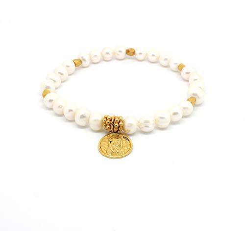 Kokomorocco Pulsera comunión Medalla Virgen niña de Plata de Ley con Perlas cultivadas en Agua Dulce, Chapado en Oro 18 k. Regalos Originales Mujer o niña